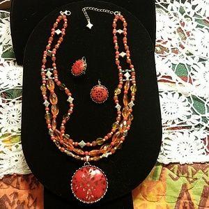Medallion Bead Necklace & Earrings